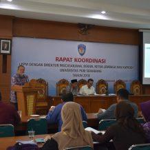 RAPAT KOORDINASI LPPM dengan Direktur Pascasarjana, Dekan, Ketua Lembaga dan Kaprodi Universitas PGRI Semarang